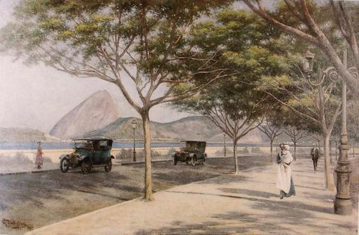 GUSTAVO DALL'ARA - Praia do Flamengo. Óleo sobre tela - 59,5 x 90,5 - 1917