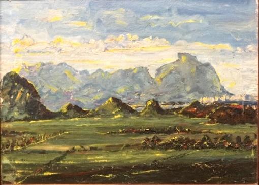 H.CAVALLEIRO - óleo s tela colado em cartão, RJ GAVEA, 55 cm x 40 cm.