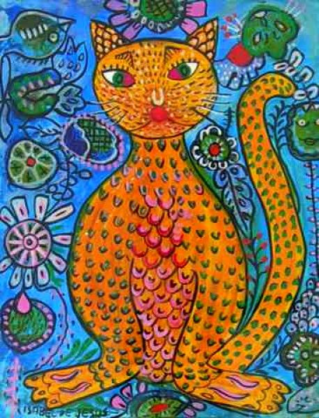 Isabel de Jesus - Gato - Nanquim e guache - 20 x 16 cm