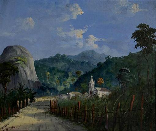J. CARVALHO - Paisagem com igreja - ost - 46 x