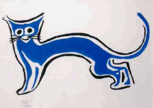 John Graz (1891-1980) - Gato azul - Gravura 37-200 - 16 x 22 cm