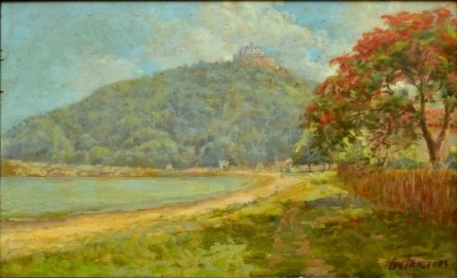 LEVINO FANZERES (1884-1956). Enseada de Vila Velha ao Fundo Convento da Penha - ES, óleo smadeira, 41 x 64