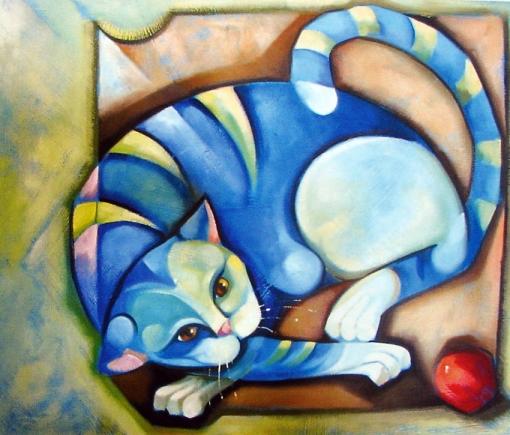 LILIAN ZAMPOL-Gato com bola-60x60-tecmistast
