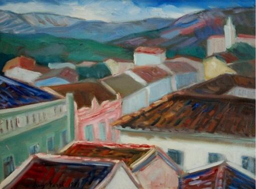 LUIS VERRI. `Paisagem Mineira. Barbacena` OST. Assinado e datado 1981. Ex coleção Helena Amorim. 50 x 60 cm.