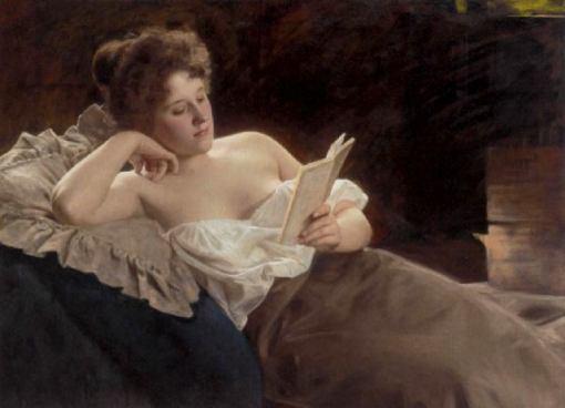 Mulher recostada lendo, A.Fitzberger (alemanha, 1853-1915)ost