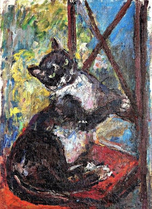 NIVOULIÉS DE PIERREFORT, Marie,Gato na Cadeira,ost,(década de 1940),44 x 33,1 cm