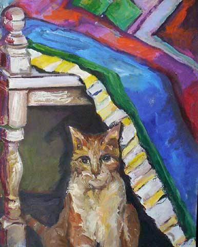 Stella Bianco (1944)Gato,Óleo sobre tela,100 x 80 cm