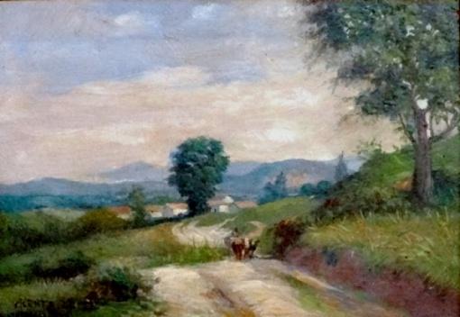 VICENTE LEITE, Vicente Ferreira Leite (1900 - 1941) Paisagem - Itaboraí, o.s.m, 18 X 26 cm, assinado, localizado (Itaboraí) e datado (1940) no c.i.e.