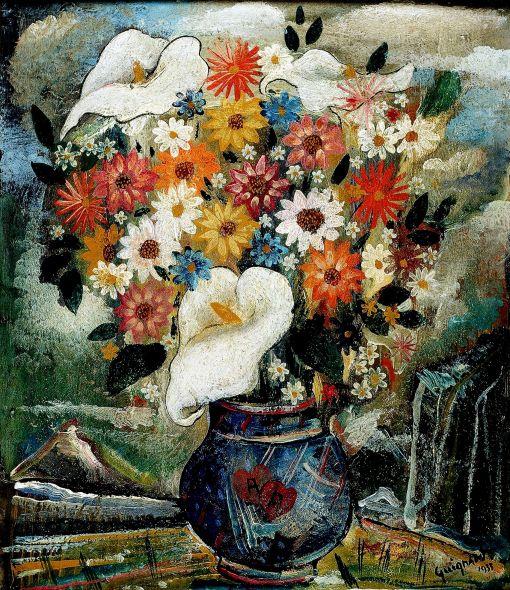 Alberto da Veiga GUIGNARD, Vaso com flores, os cartão,1933, 41.5 cm x 34 cm