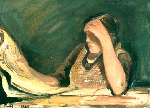 Bengts, Carl - Sanomalehteä lukeva nainen, 1925