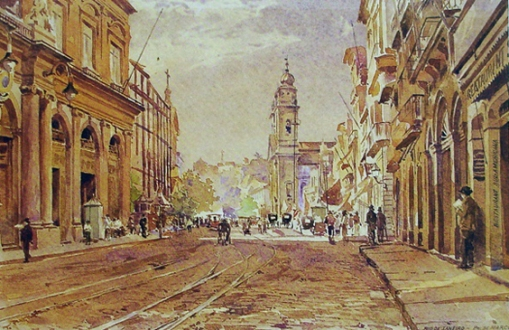 BRENNO TREIDLER - Rua Primeiro de Março, RJ, 1895 - aquarela - 23,3 x 35
