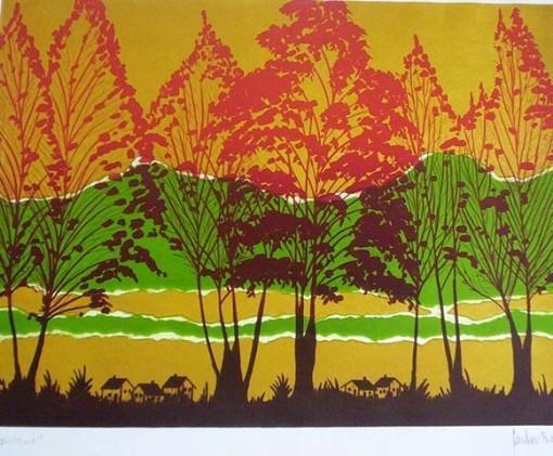 Carlos Borges,Outono,Gravura, 43 x 50 cm