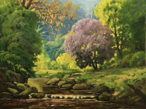 CÂNDIDO CORREIA - À beira do rio - Óleo sobre tela - 30 x 40