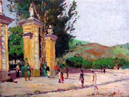 gerson_coutinho.Santuário da Penha óleo sobre eucatex datado 1937 18x25cm.