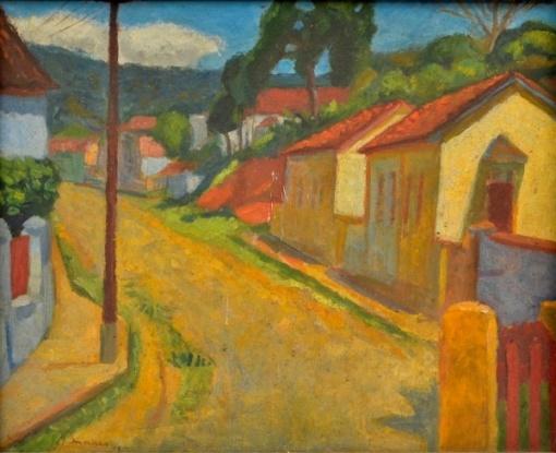 JOSE MORAES (Rio 1921 - 2003 São Paulo) - Paisagem de Matias Barbosa, O.S.T, assinado no canto inferior esquerdo e datado de 1948, med 38 x 46 cm