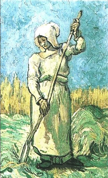 mulher com ancinho, van gogh, 1889