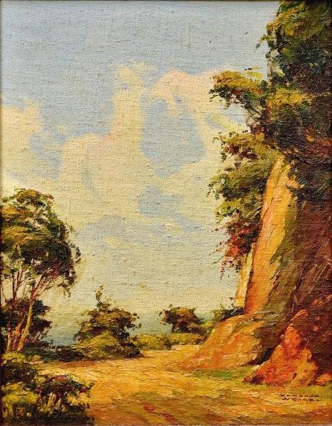 RODOLFO WEIGEL (1907-1987) - Paisagem com Estradinha, óleo stela colado na madeira, 24 X 19.