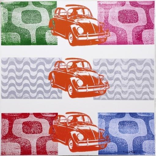RUBEM DUAILIBI - Três VW em Copacabana e Ipanema - Acrílico s tela colado e silk-screen - 100 x 100 cm - ass. inf. direito e verso - 2008 -
