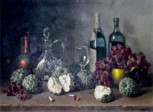 WERNER LEVIN (Alemanha,1920-Brasil,1996) - Frutas do Conde, uvas rubis, tacho de cobre, jarra, cálice e garraf