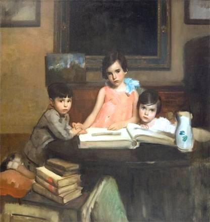 Ambrogio Alciati - I bambini Moizzi, 1929, olio su tela