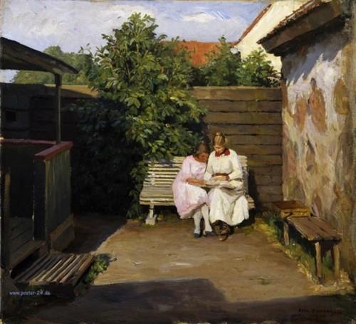 Axel Johansen (Dinamarca, 1872-1938) Hora da leitura, ost
