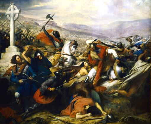 Batalha de Poitiers, em outubro de 732, 1837, Charles de Steuben, (Alemanha, 1788-1856),ost, 542x465cm,Palacio de Versalhes