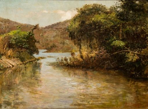 BENJAMIM PARLAGRECO (1856-1902). Remanso em Trecho do Rio Piabanha - Petrópolis, óleo s tela, 51 X 70. Assinado no c.i.d.