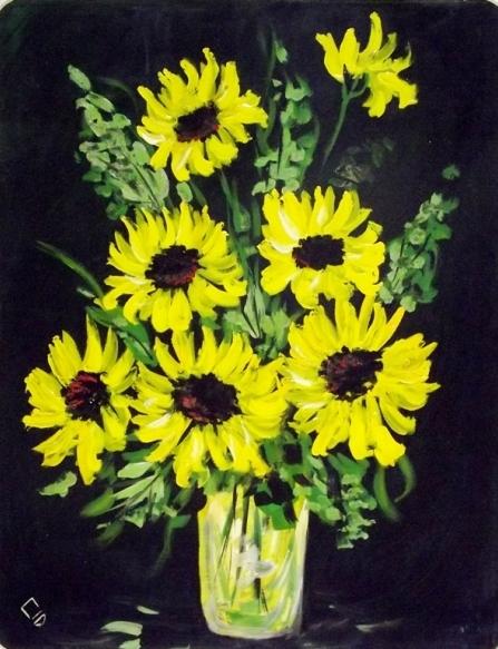 Cid Serra Negra - Vaso com flores - oleoseucatex - med 77 x 63 cm - acie