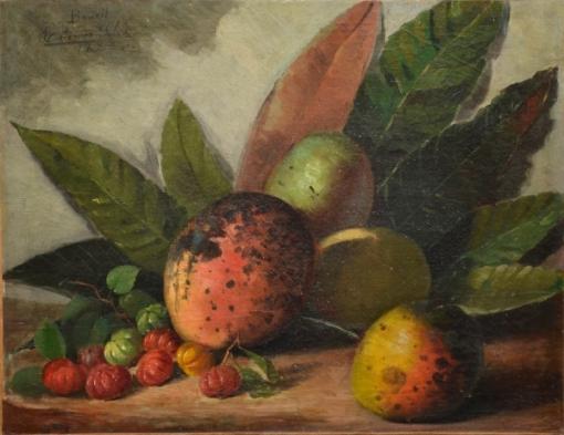 ESTEVÃO SILVA (1844-1891). Mangas, Pitangas e Folhagens sobre a mesa, óleo s tela, 34 X 43. Assinado e datado (1887) no c.s.e.