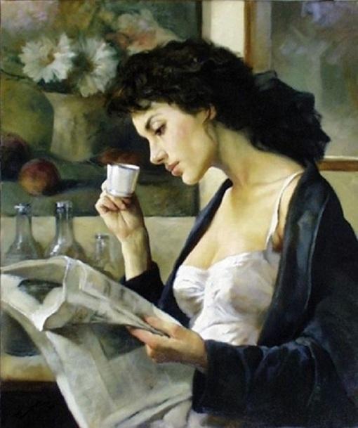 Gianni Strino (Italian artist, 1953-) Café del Matino -