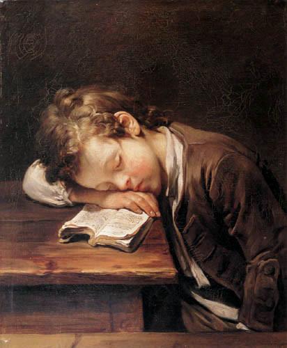 Jean-Baptiste Greuze, um aluno que dorme, 1755, ost 54 x 65 cm ,