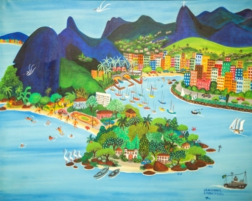 LIA MITTARAKIS (1934-1998). Panorama da Cidade do Rio de Janeiro, óleo stela, 80 x 100. Assinado e datado (1983) no c.i.d.