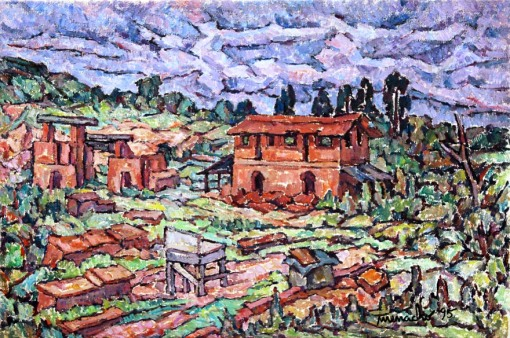 Manoel Martins Menacho,(Brasil, 1926-2011) Lavras – Guarulhos,  SP, 1995,40 x 60 cm,OST