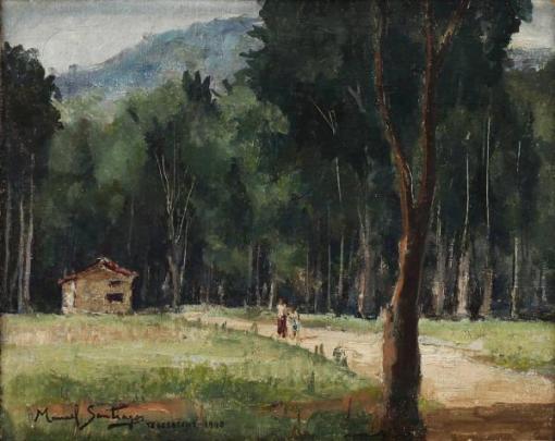 MANOEL SANTIAGO (1897 - 1987) - Paisagem Campestre com Casario Teresópolis-RJ, óleo sobre tela Déc. 40, med. 33 x 41cm, assinado e datado 1948, localizado Teresópolis