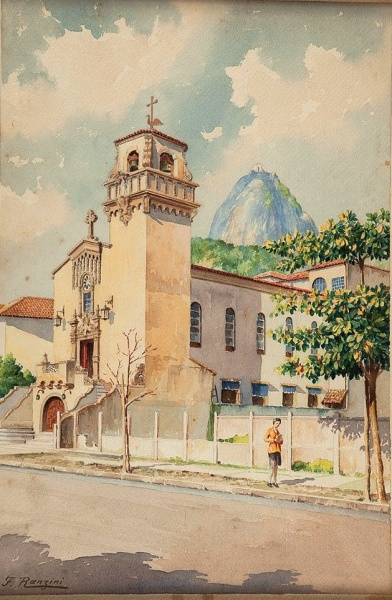 RANZINI, FelisbertoPaisagem iconografica - aquarela - med. 49 x 32 cm