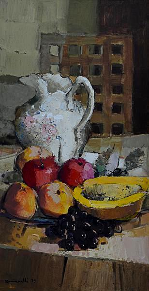 ROMANELLI, Armando (1945) - Jarra e Frutas, óleo sobre chapa de madeira industrializada - 70 x 35 cm. Assinado e datado 79 frente e verso