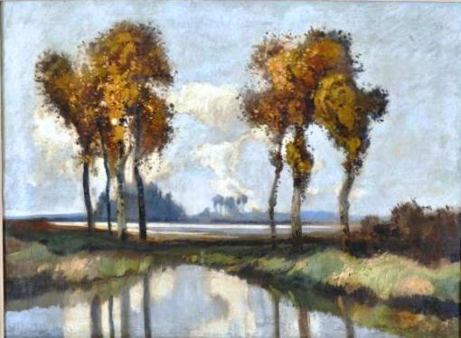 VIRGILIO LOPES RODRIGUES  Paisagem  óleo sobre tela, 60 x 81 cm.