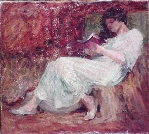 Antonio Parreiras (Brasil, 1860-1937)Leitura Matinal, 1916, ost, 28 x 31 cm, Museu Antonio Parreiras