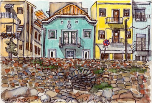Buildings in Buarcos, Portugal, Claire Nelson-Esch, Pencils, Ink, watercolour on paper, 13.5 x 21cm  ©Claire Nelson-Esch. httpclairelovesyouthismuch.blogspot.com.br