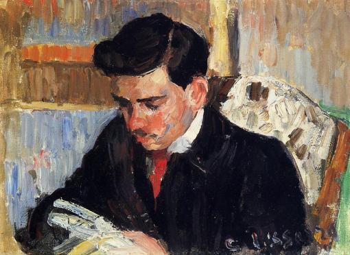 camille pissarro portrait-of-rodo-pissarro-reading