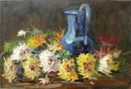 CAMPÃO, óleo sobre tela, 1942, flores,  60 x 40 cm