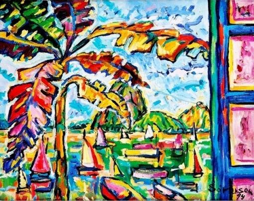 Carlos H Sorensen (1928-2008), Tropical, 1994, encaustica sobre tela 40x50 cm
