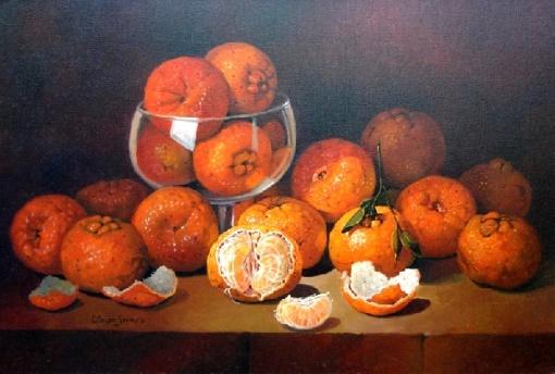 Cleusa Soares -Tangerinas --  óleo sobre tela - 40cm x 60cm