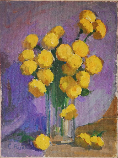 COLETTE PUJOL -  Flores amarelas  Óleo Sobre tela colado sobre Eucatex, Assinado Canto Inferior Esquerdo, Medindo 40,00 x 30,00 (