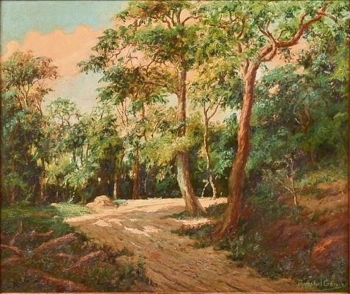 FUNCHAL GARCIA - Paisagem Interior de Floresta, pintura a óleo sobre tela, med. 55 x 66cm