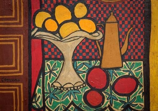 GENARO DE CARVALHO (1926-1971). Bule, Fruteira e Fruto sobre a Mesa, óleo smadeira, 18 X 22