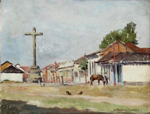 GERSON AZEREDO COUTINHO (1900-1967) -Cruzeiro Colonial - Cabo Frio-RJ, pintura a óleo sobre madeira, med. 28 x 36cm,