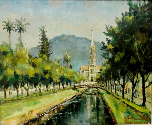 JOSÉ MARIA DE ALMEIDA (1906-1995)Catedral de Petrópolis-RJ,1965,ost, 39 x 46