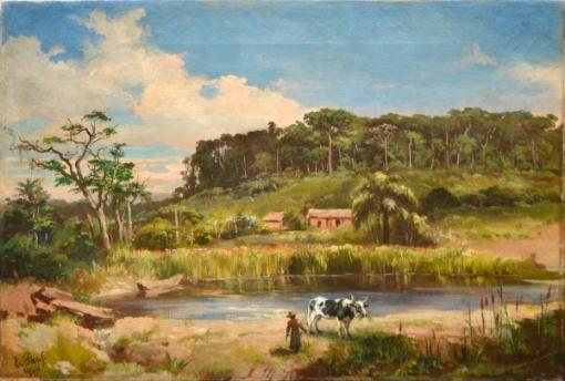 KARL ERNST PAPF (ALEMANHA, 1833- RIO, 1910). Paisagem de Fazenda no Estado do Rio, óleo s tela, 41 x 58. Assinado e datado (1904) no c.i.e.
