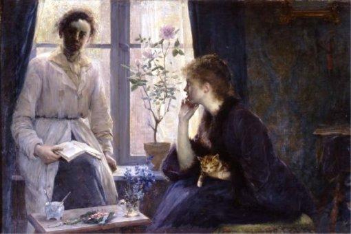 Marie Louise Catherine Breslau, (Alemanha 1856-1927) Chá das cinco, 1883, Museu de Arte de Berna